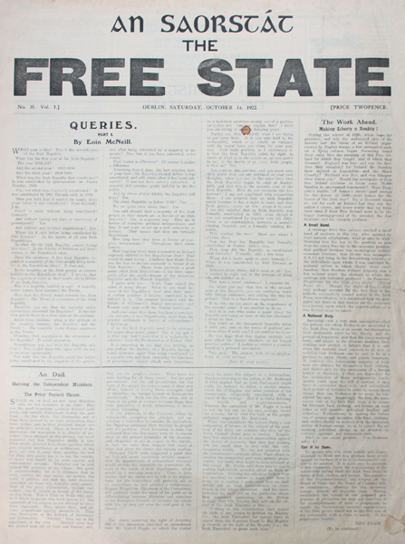 An saorstat Irish Free State newspaper